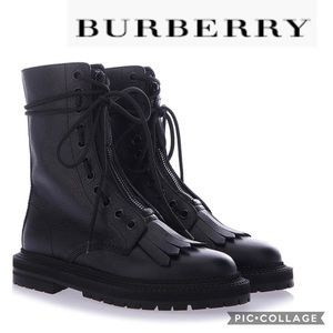 NWT Burberry Grainy Leather Combat Boots